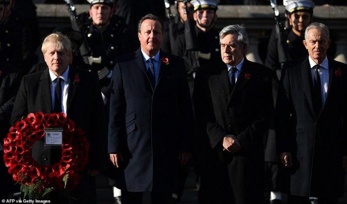 Five former prime ministers - Sir John Major, Tony Blair, Gordon Brown, David Cameron and Theresa May - were also present