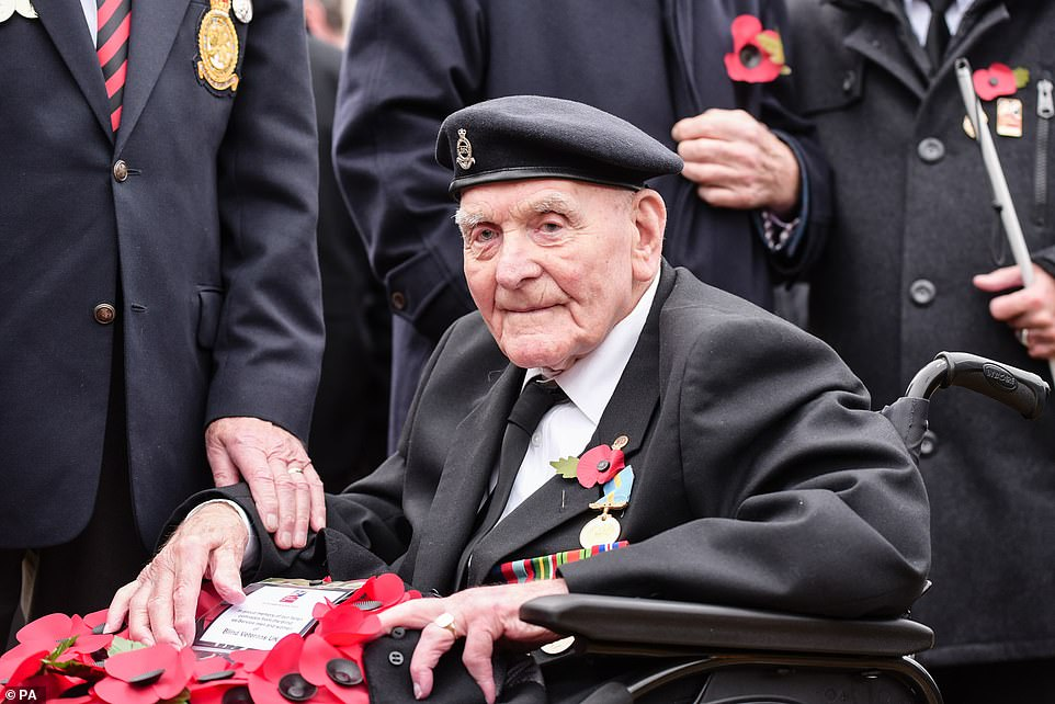Following the service, around 10,000 veterans marched past the war memorial, including World War Two veteran Ron Freer. The 104-year-old, who is blind, will be the oldest hero to have marched at the Cenotaph this year, along with his comrades