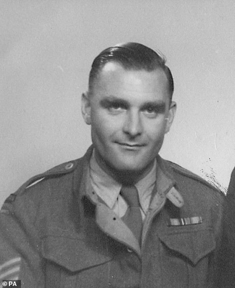 Ron Freer from Kent is pictured above during the war. After the service, around 10,000 veterans marched past the war memorial, including World War II veteran Ron Freer