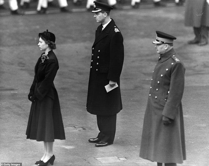 The queen is depicted in November 1952 with Prince Phillip. She was a princess when she laid her first wreath at the cenotaph