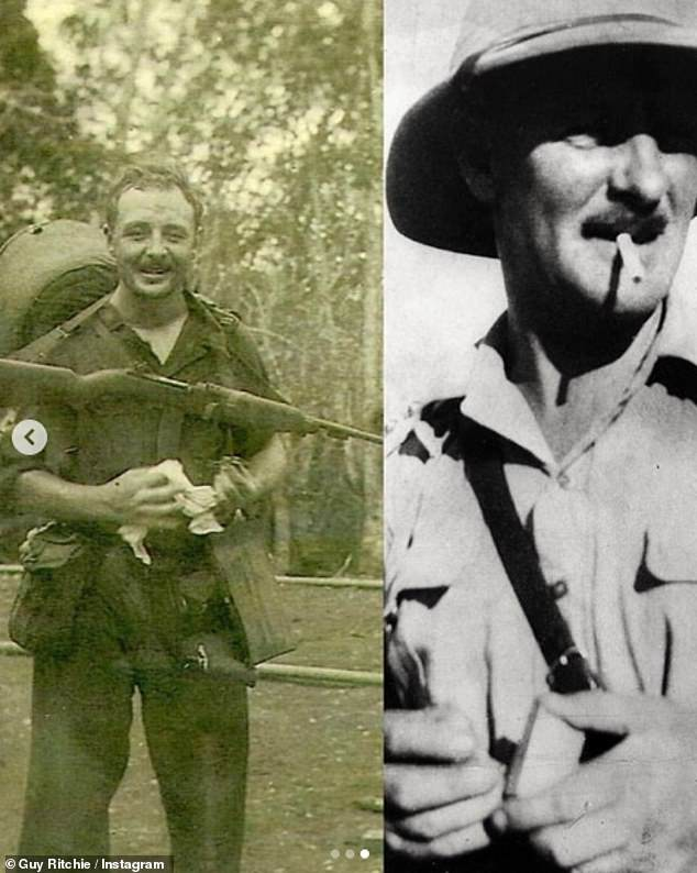 Incredible: Guy also shared a third photo of his grandfather, Major Stewart Ritchie, who was killed in France in 1940 during the Second World War