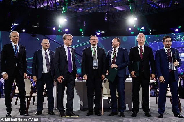 Gazprom Neft Management Board Chairman, Alexander Dyukov, MTS President Alexei Kornya, Sberbank CEO and Chairman of the Executive Board, German Gref, Russia's Deputy Prime Minister Maxim Akimov, Yandex IT company CEO Arkady Volozh, Russian Direct Investment Fund CEO Kirill Dmitriev, and Mail.Ru Group CEO Boris Dobrodeyev (left to right)