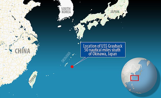 This map shows where the U.S.S. Grayback was found 1,427 feet deep and 50 nautical miles south of Okinawa, Japan