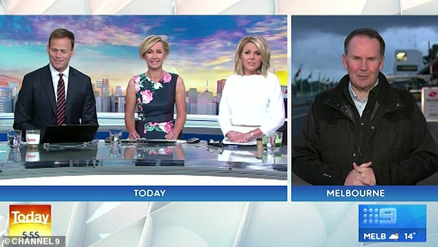 Fired up: The straight-talking TV reporter appeared increasingly frustrated in the lead up to his resignation. Pictured alongside (L-R) Tom Steinfort, Deborah Knight and Georgie Gardner