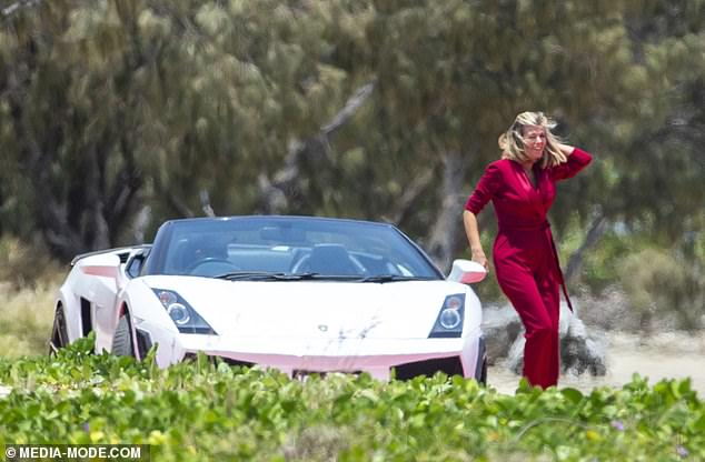 What an entrance!Earlier in the day, Kate had been seen making a lavish arrival to the Gold Coast port in a white Lamborghini