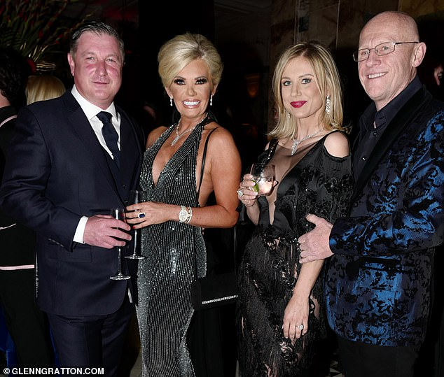 Scott O'Brien, pictured alongside Claire Caudwell on her 50th birthday in May with her ex-husband John Caudwell, right, and Modesta Vzesniauskaite