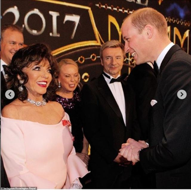 Class act: Dame Joan Collins, wearing a light pink dress and elaborate diamond jewellery, shared a warm exchange with Prince William at the London Palladium in 2017