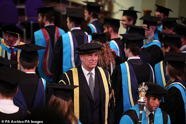 Prince Andrew (pictured at a Huddersfield University graduation ceremony) is facing a backlash following his interview on the BBC