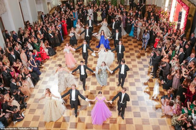 The ladies then took to the dance-floor arm-in-arm with their tuxedo-clad dates to waltz in front of a host of glamorous guests as the night got into full swing on November 18, 2019