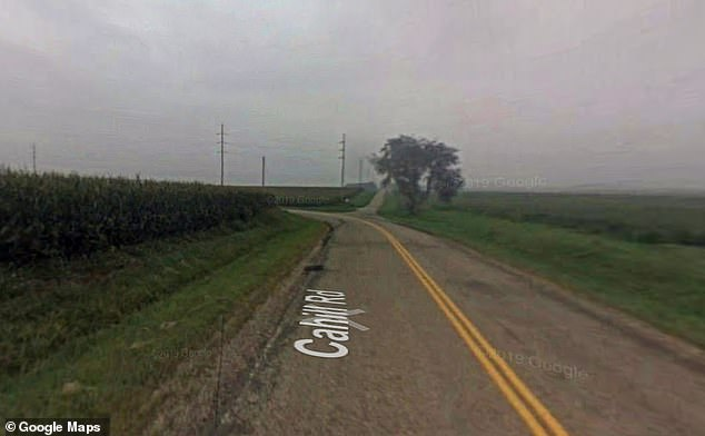 The man plowed into a field close to the intersection of North Brimfield and West Cahill in Peoria County, Illinois, (pictured) on Saturday at around 7.20pm