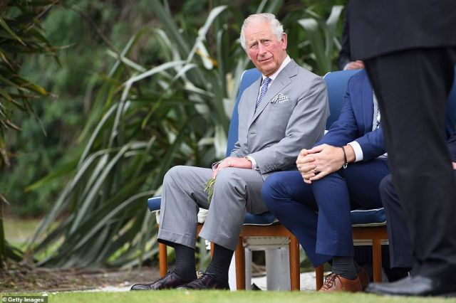 Charles looked smart in Kaikoura, donning a dapper grey suit with a patterned blue tie and smart black brogues