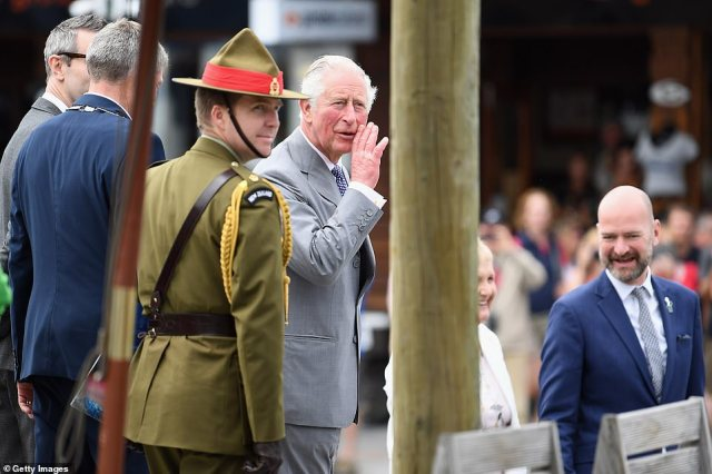 The Prince of Wales was full of smiles as he took part in a public walk around Kaikoura, New Zealand, on Saturday afternoon