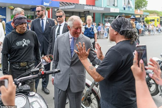 The Prince of Wales met the White Ribbon Riders, whoare on their annual motorcycle ride raising awareness of domestic violence, with one of them telling Prince Charles 'I can see you riding one of these', which appeared to entertain the royal