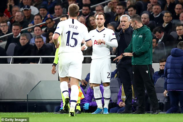 Dier was replaced by Christian Eriksen with Tottenham losing 2-0 at home to Olympiacos