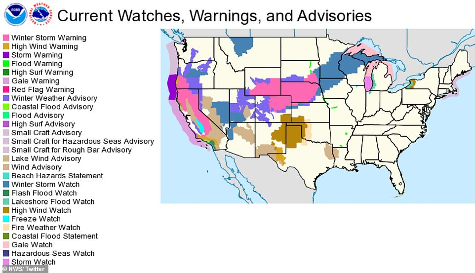 Weather warnings are in effect across more than half of the country, including major transport hubs such as Los Angeles, Denver, Minneapolis, and Chicago