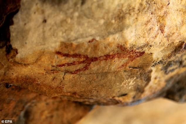 A view of a 5,000 year-old cave painting discovered by Spanish expert and researcher Agustin Palomo in Alburquerque, Extremadura, Spain