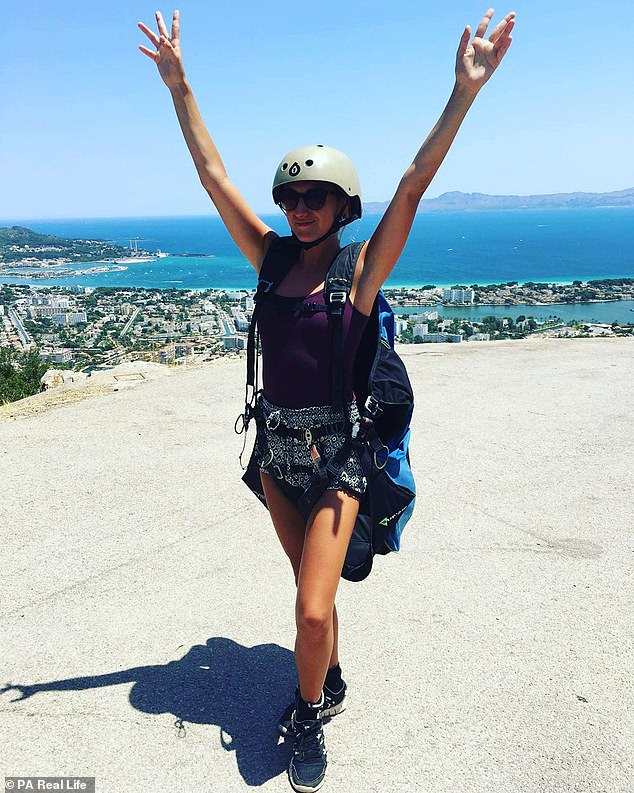 The 23-year-old (pictured paragliding in Spain) revealed she's still open to meeting someone through SeekingArrangement, although her previous relationship didn't work out