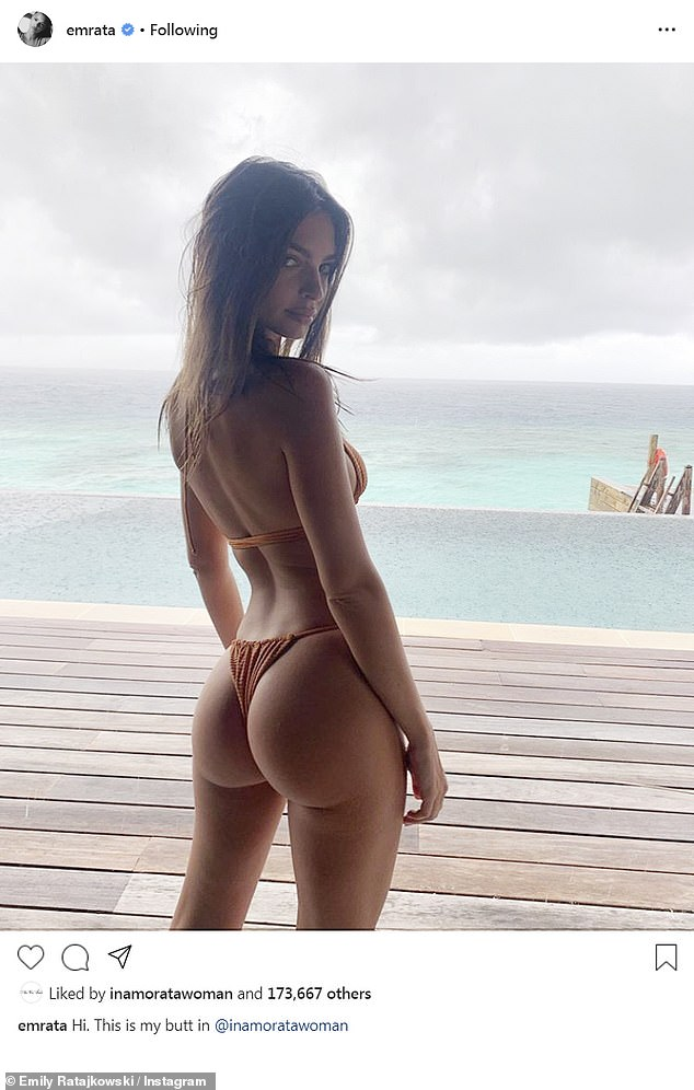 'This is my butt': Emily wanted all eyes on her behind rather than her idyllic surroundings during her trip to the Maldives on Tuesday