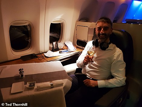Ted settles into the VIP way of life in seat 1J on his flight to JFK