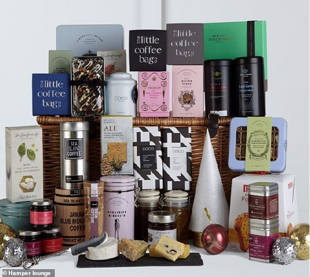 The Gourmet Christmas hamper from the Hamper lounge gives you a saving and includes cheeses, chocolates and wines