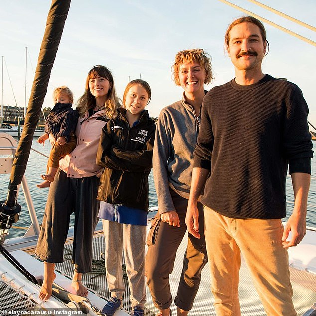 The vessel is carrying Miss Thunberg (centre) and her father Svante 3,000 miles to Portugal where she will go onto attend the COP 25 climate change talks in Madrid. The journey was meant to save approximately two or three tons of carbon dioxide emissions. Miss Thunberg with Australian couple Riley Whitelum (right) and Elayna Carausu (left), and English skipper Nikki Henderson (second right) on board La Vagabonde