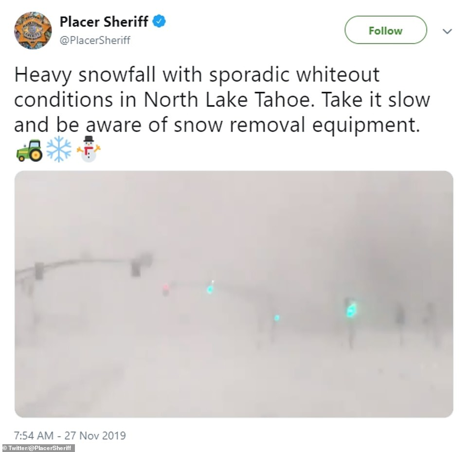 Blizzard conditions created a white out in North Lake Tahoe in California, leading authorities to warn locals to stay indoors