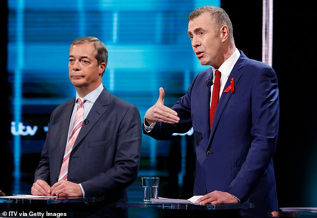 "Mr Farage (left) said he was a ""great mistake""; British politicians Donald Trump were discouraged, despite acknowledging some of Mr Trump's views about women being 'wrong';"