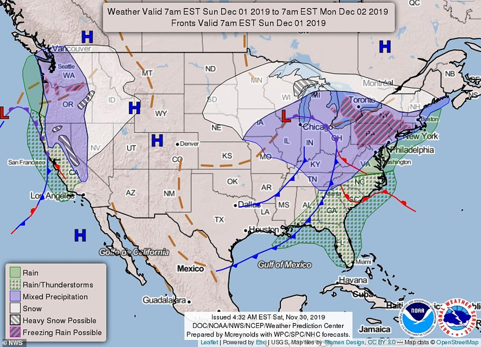 The map above shows the forecast nationwide from Sunday morning7am EST through Monday morning 7am EST