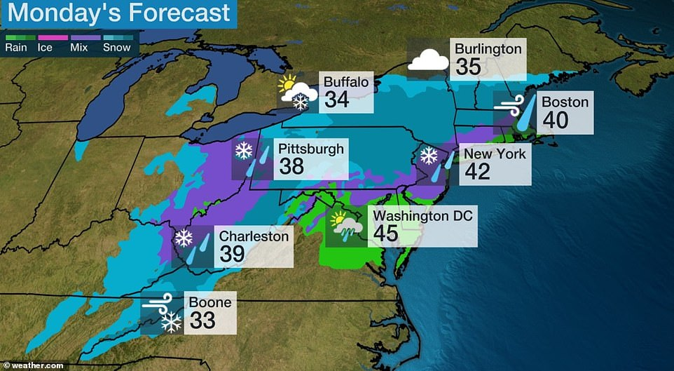 The National Weather Service said in its latest forecast: 'Freezing rain will be the initial threat for portions of Pennsylvania and New York, as well as the Central Appalachians, with ice accumulations over a tenth of an inch possible in some areas. Snowfall amounts in the Northeast are currently forecast to be 4 to 8 inches from parts of New York, southern Vermont and New Hampshire, and Massachusetts through Sunday night, with more expected on Monday'