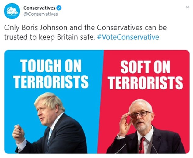 The Tories said Jeremy Corbyn - who has boasted of voting against all counter-terror legislation since 1983 - is 'soft on terrorists'