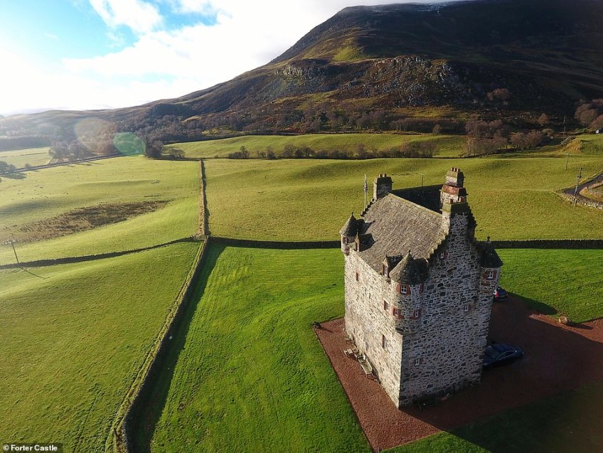 The striking Forter Castle near Folda in the Scottish Highlands, which has been restored to its former glory and is now a holiday let