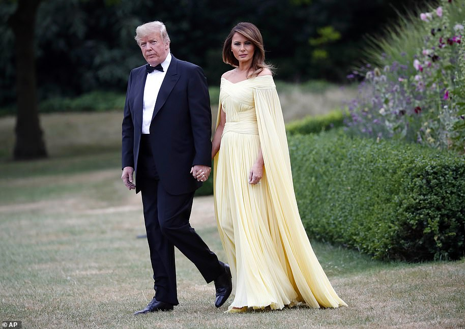Donald and Melania Trump leave Winfield House during a visit to London in July 2018, Melania looked stunning in a floor length gown