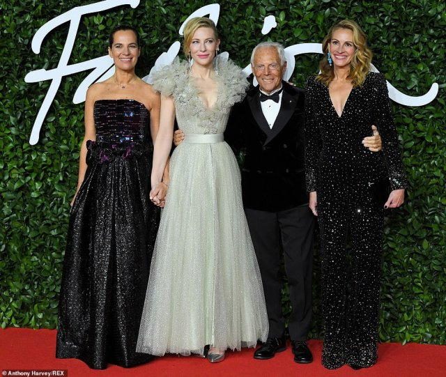 Style savvy: Cate and Julia were guests ofItalian designer Giorgio Armani, who looked dapper in a velvet double breasted tuxedo