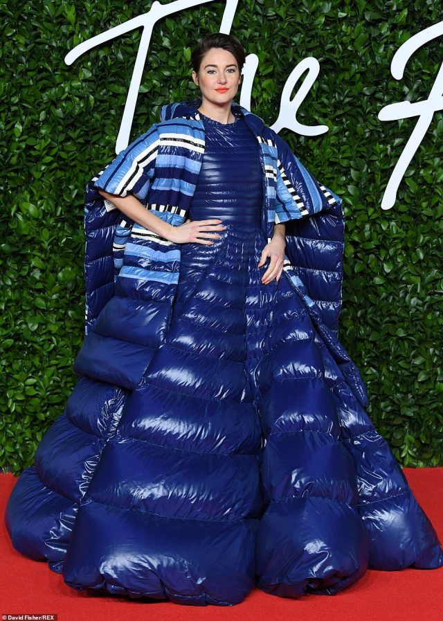 US actress Shailene Woodley, 28, (pictured) posed confidently in a dramatic blue puffer dress that appeared to have been inflated - turning heads for all the wrong reasons