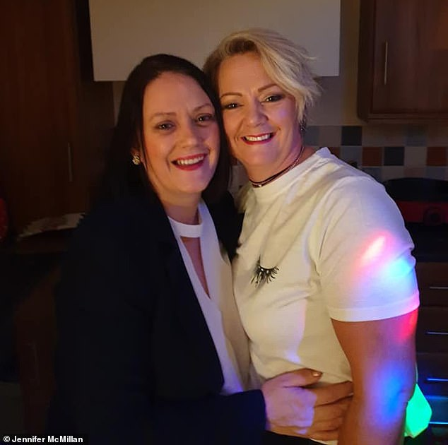 Jennifer's big sister Christina Beattie (pictured right, with her sibling), 40, has offered to be a surrogate for the couple to give them a greater chance of success