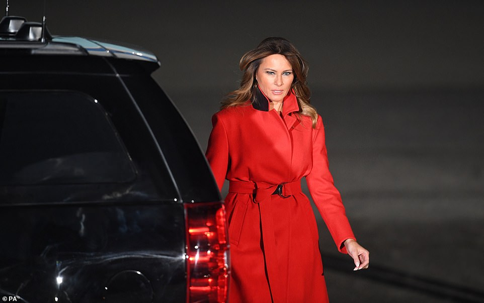 Melania looked fresh despite the long flight after landing in London this evening as she accompanies the President