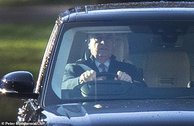 Prince Andrew leaves his home at Royal Lodge at Windsor Great Park in Berkshire on Monday