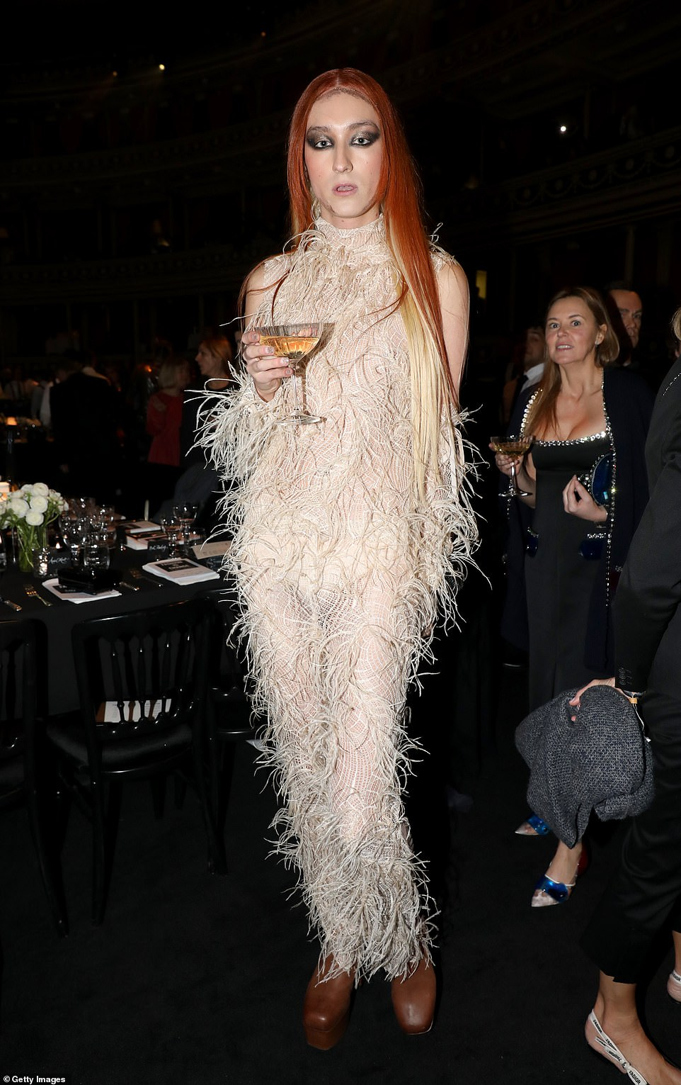 Designer Harris Reed (pictured) wore a sheer cream dress covered in feathers, paired with chunky brown shoes