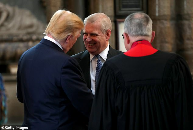 Donald Trump was photographed smiling and shaking hands with Andrew, 59, at Westminster Abbey in June