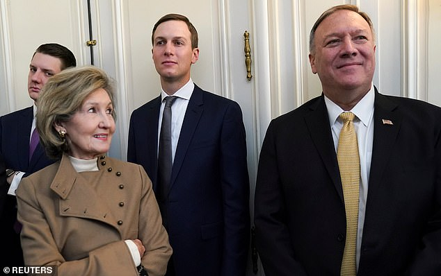 Entourage: Among those with the president in London are the U.S. Ambassador to NATO Kay Bailey Hutchison, his son-in-law Jared Kushner, and  Secretary of State Mike Pompeo