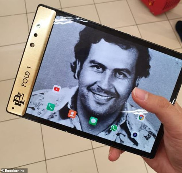 Named after the late drug lord (pictured is Pablo Escobar), the Pablo Escobar Fold 1 is an Android 9.0 smartphone with a Qualcomm Snapdragon 8 Series CPU that folds out into a tablet