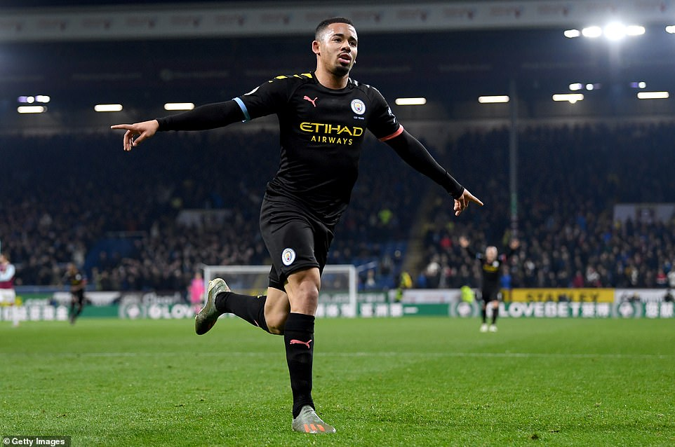 Gabriel Jesus celebrates after putting Manchester City into the lead during the first half of their clash against Burnley