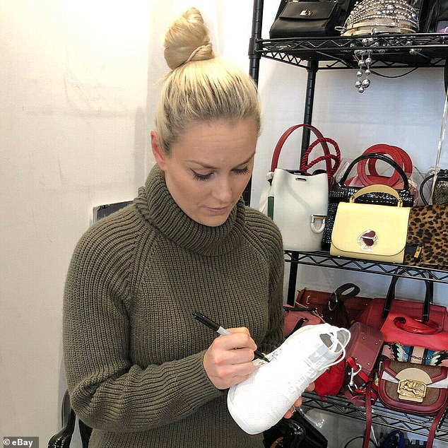 Making changes: As part of ESPN Beats Cancer, a handful of stars — like Olympic skier Lindsey Vonn — autographed shoes to raise money for the V Foundation for Cancer