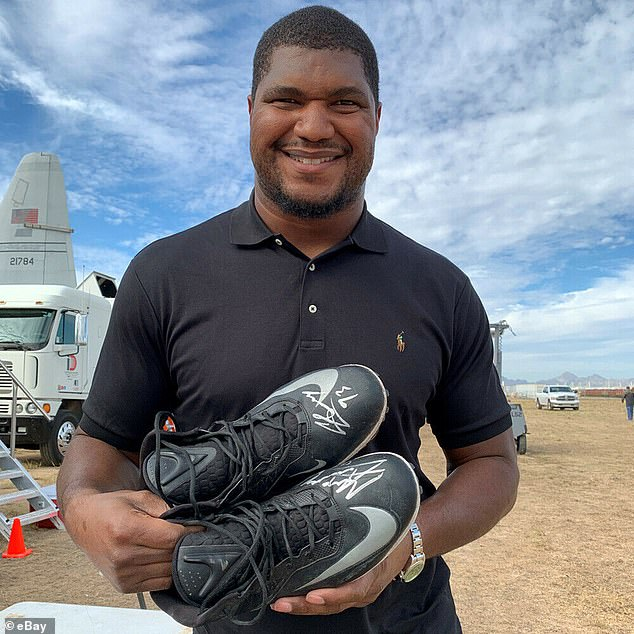 Getting involved: The Jacksonville Jaguars' Calais Campbell also participated in the event