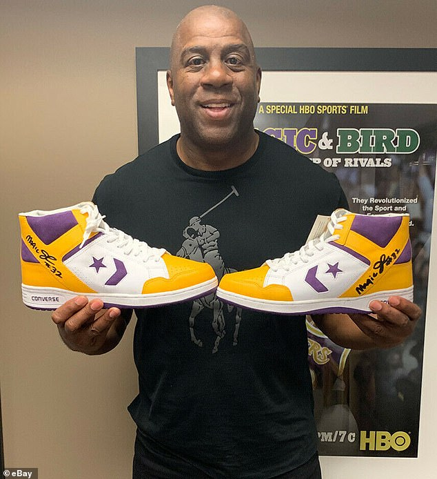 Sports pros, unite! Mostly, sneakers were signed by pro athletes, like Magic Johnson