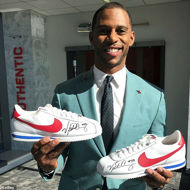 Sports star: Victor Cruz, who wonSuper Bowl XLVI with the New York Giants, donated a pair