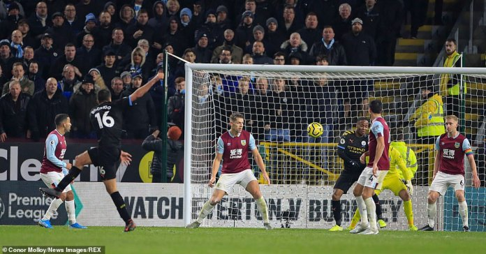 Rodri fires in a shot from the edge of the area that flew past Pope in the Burnley net and wrapped up the win for City