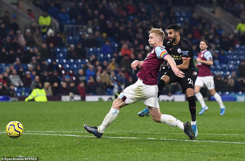 Riyad Mahrez hit a fourth goal for City as he managed to trick Ben Mee on the edge of the area before firing the ball in