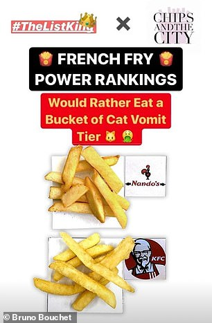 Lastly, the 'Would Rather Eat a Bucket of Cat Vomit Tier' included Nando's and KFC
