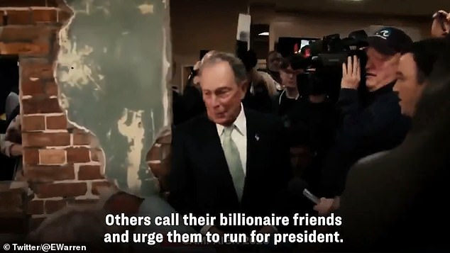 In her ad, she suggests that billionaires encouraged Michael Bloomberg to run to stop her from taxing the top percent